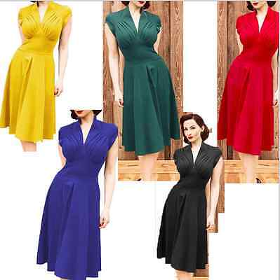 Ladies Vintage Style Retro 1940s Rockabilly Evening Swing Skaters Tea Dress