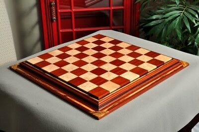 "Signature Contemporary Chess Board - BLOODWOOD  / BIRD'S EYE MAPLE - 2.5"" Square"