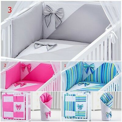 Stunning 7 Pcs Bedding Sets With Bows For Cot / Cot Bed Tidy Wrap Sheet Valance