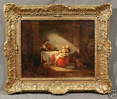 "Early 19th Century English Oil Painting ""Mother and Children"""