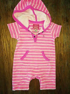 JOULES Baby Amelia Soft Towelling All In One Suit Neon Pink 3 - 6m FreeUKP&P