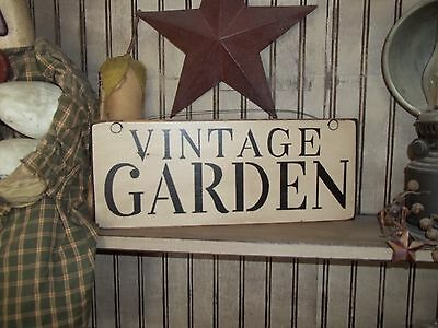 Wood sign VINTAGE GARDEN garden sign Country Rustic Prim spring home Decor Sign