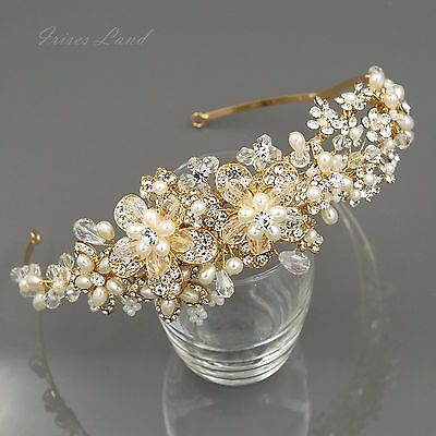 Crystal Pearl Flower Headband Headpiece Tiara Bridal Wedding Accessory 09928 G