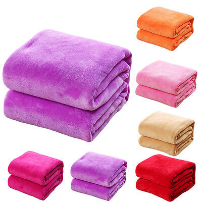 Super Soft Plush Mink Fleece Queen King Bed Sofa Throw Blanket 8 Solid Colors