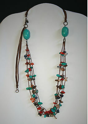 """SIGNED 22"""" Long Peyote Bird 5-Strand Natural Gemstone and Shell Beaded Necklace"""