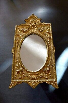 Beautiful Antique Acanthus Leaf Gold Cast Iron Oval Vanity Table Top Mirror