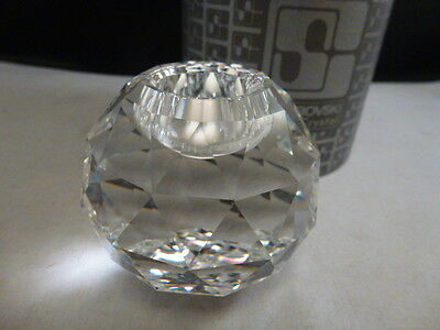 """SWAROVSKI CRYSTAL ROUND BALL CANDLE HOLDER WITH OLD """"S"""" LOGO 2 1/2 """" ball appro"""