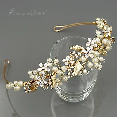 Crystal Pearl Flower leaf Headband Headpiece Tiara Bridal Wedding Accessory 23 G