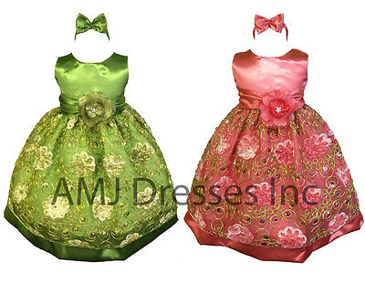 Baby Girls Wedding Birthday Party Flower Girl Pageant Easter Dress A1098