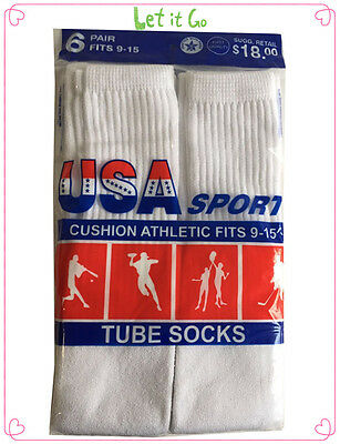 6 Pairs New Men's Cotton Athletic Sports Tube Socks Size 9-15 WHITE Made In USA