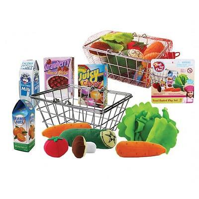NEW Supermarket Shopping Basket with Play Food & Groceries Set 11pc
