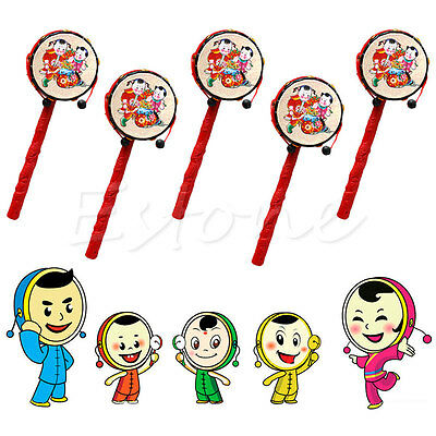 Kids Cartoon Plastic Chinese Traditional Rattle Drum Spin fun toys Hand Bell