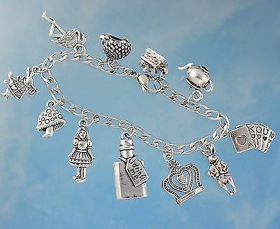 Alice in Wonderland Charm Bracelet- Zinc Alloy charms + stainless steel chain