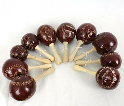 Maracas Percussion Instrument Party Wood Handmade Shakers Brown Five Pairs