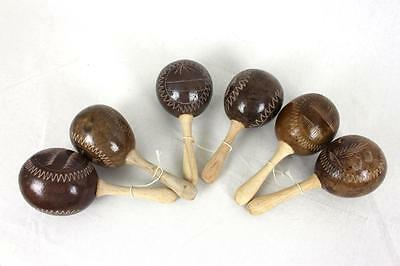 Maracas Percussion Instrument Party Wood Handmade Shakers Brown Three Pairs