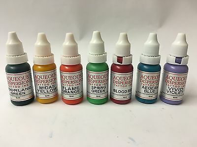 TATTOO INK SET 7 x 15ml BOTTLES SAMPLER COLOURS *** £17.99 ***