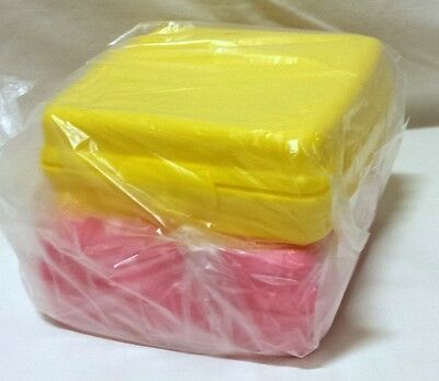 New Tupperware Sandwich Keeper Square Duo Pink/yellow!
