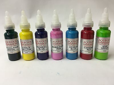 TATTOO INK SET 7 x 30ml BOTTLES SAMPLER COLOURS *** £34.99 ***