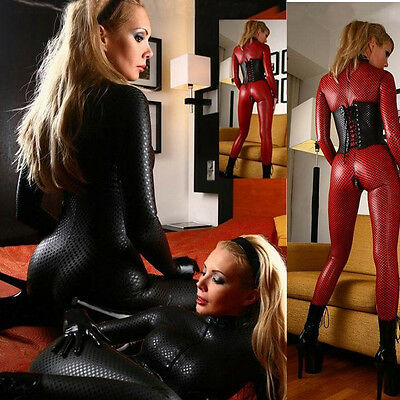 Sexy Women PVC Leather Silky Stretch Fetish Zipper Catsuit Red Clubwear Catwoman