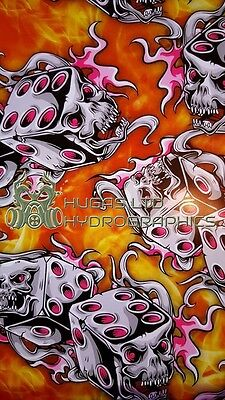 Hydro Dipping Hydrographics Water Transfer Film FLAMING DICES ORANGE HUGASLTD