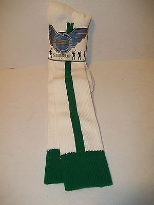 Moretz Sports Stirrup Socks 2 N 1 Adult - Sock Size 10-13 - Green and White