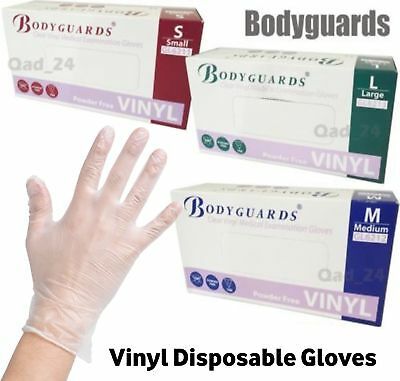 100 X Bodyguards Vinyl Gloves Clear Medical Examination Powder Free Disposable
