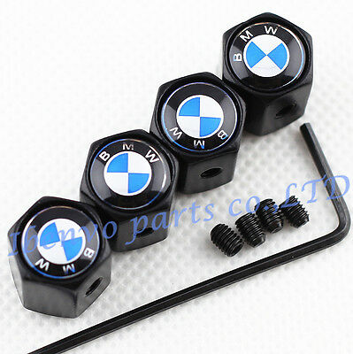 Anti-theft Black Metal Car Wheel Tyre Tire Stem Air Valve Cap For BMW Vehicles