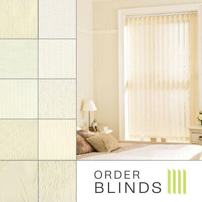 Cream Patterned 89mm Daylight Vertical Blinds - Complete Made to Measure Blinds