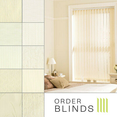 Cream Patterned 89mm Dim-Out Vertical Blinds - Complete Made to Measure Blinds