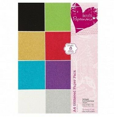 Papermania Glittered A4 Paper Pack  8 Colours 160gsm
