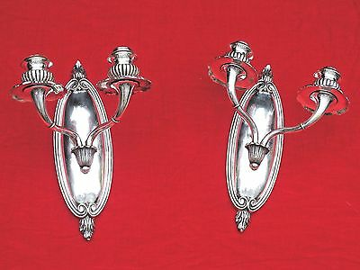 MAGNIFICENT ANTIQUE pair of SILVERED BRONZE WALL SCONCES 19TH CENTURY SUPERIOR