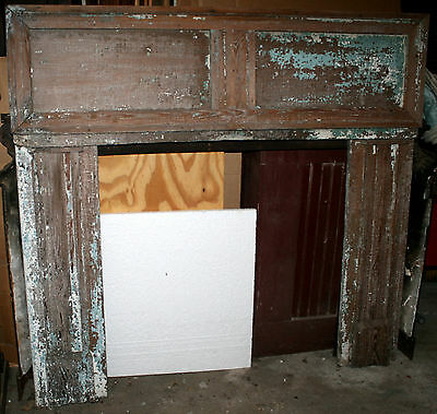 "c1890 Colonial Revival fireplace mantel, southern heart pine, rmnts blue, 52""t"
