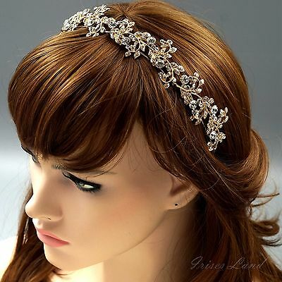 Bridal Jewelry Accessories Wedding Headpiece Crystal Headband Tiara 09918 Gold