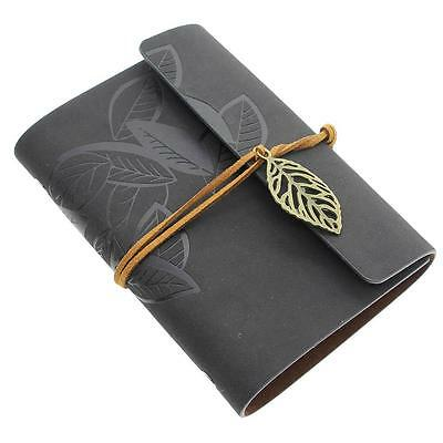 Black Retro Vintage Leather Bound Blank Pages Journal Diary Notebook Sketchbook