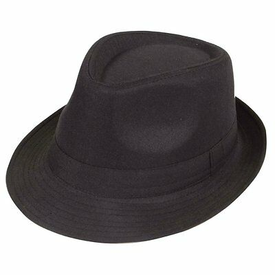 Black Fedora Plain Hat Outfit accessory for Gangster Fancy Dress FK