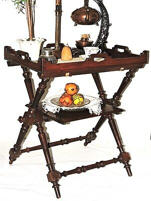 "18th c folding campaign table, butler tray stand, rare with shelf, walnut, 29""t"