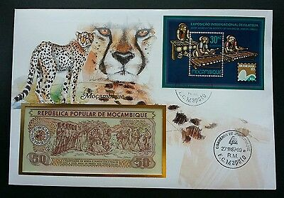 Mozambique Cheetah 1987 Wildlife Animal Leopard Big Cat FDC (banknote cover rare