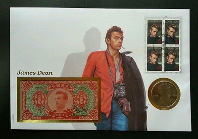USA James Dean 1996 美国中国地府瞑钞邮币封 Hell FDC (banknote coin cover) *rare 3 in 1