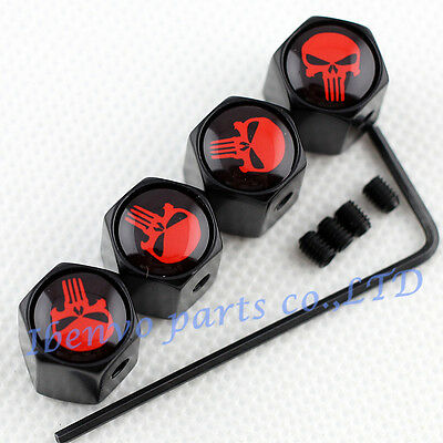 Anti-theft Black Metal Car Wheel Tyre Tire Stem Air Valve Cap For Red Punisher