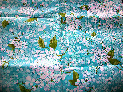 """Vintage White Flowers On Robin's Egg Blue Cotton Upholstery Fabric - 1 Yd X 44"""""""