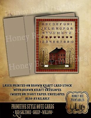 Primitive Style Note Cards - Brown Kraft w/ env - Red Saltbox Sheep Willow