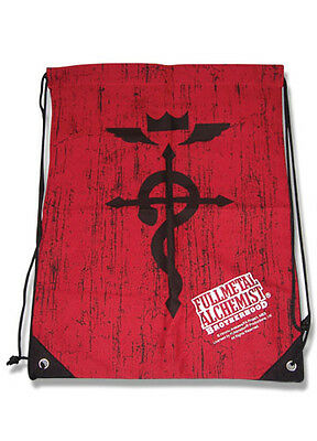 **Legit Bag** Fullmetal Alchemist Flamel Logo Red Drawstring Backpack #81022