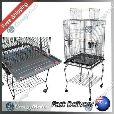 Bird Cage Cockatiel Parrot Aviary Pet Cage Open Roof 145cm Black w/ Stand Wheels