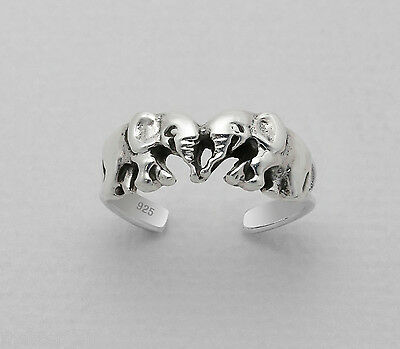 TJS 925 Sterling Silver Double Elephant Twin Design Toe Ring Adjustable