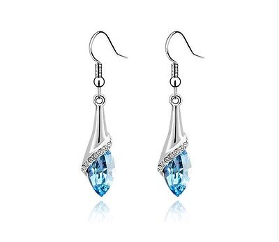 Women Ladies 925 Sterling Silver Blue Crystal Long Drop Hook Earring Jewelry