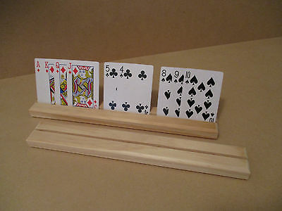 Wooden Playing Card Holders Single Row - Set Of 2
