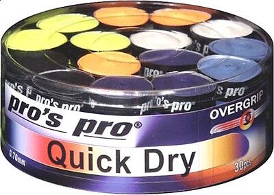Pro's Pro Quick Dry Overgrips - 0.70mm - Box of 30 - Tennis Badminton Squash