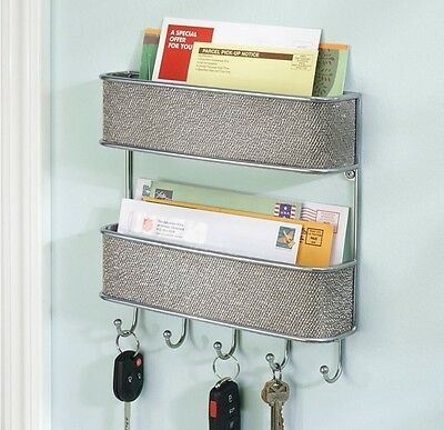 key rack holder letter organizer wall mail mount storage hook wood home office