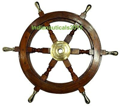 "Vintage Style 18"" Brass & Wood Ship Wheel Helm Nautical Bar Decor Steering Boat"