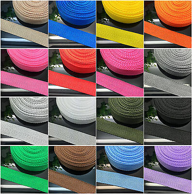 New 2/5/10/50 Yards 1 Inch 25mm Width Nylon Webbing Strapping 21 colour pick UK
